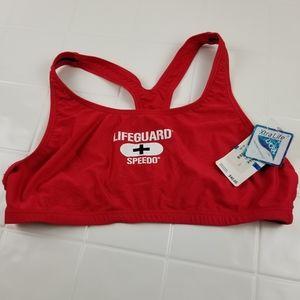 Speedo LIFEGUARD size XL red bikini swimsuit top